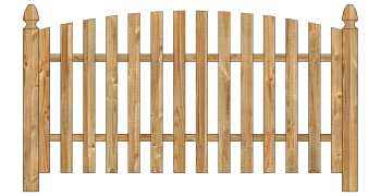 Spaced Picket Wood Fence - Cedar Single Convex Virginian W412 - image