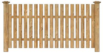 Spaced Picket Wood Fence - Cedar Straight Virginian W115 - image