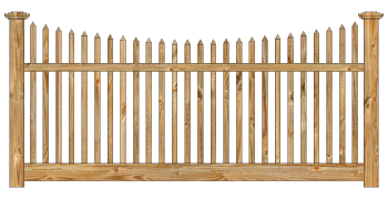 Spaced Picket Wood Fence - Cedar Victorian Scalloped Picket W820 - image